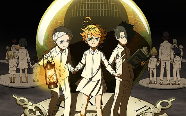 the promised neverland cover, featuring emma, norman, and ray