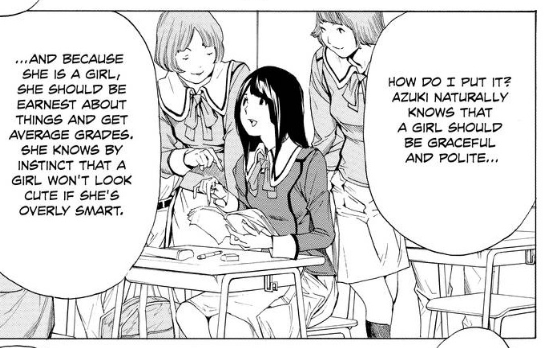 An image from the manga with Miho about how a girl's place in society works. Sexist