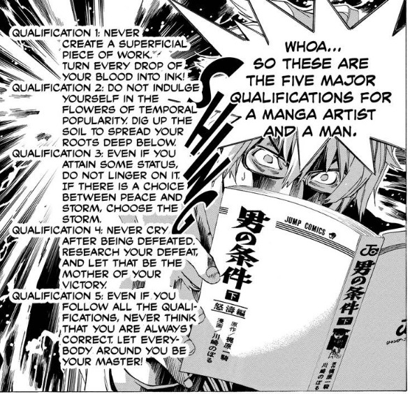 Shujin reads the five qualifications for a Manga Artist and a man.