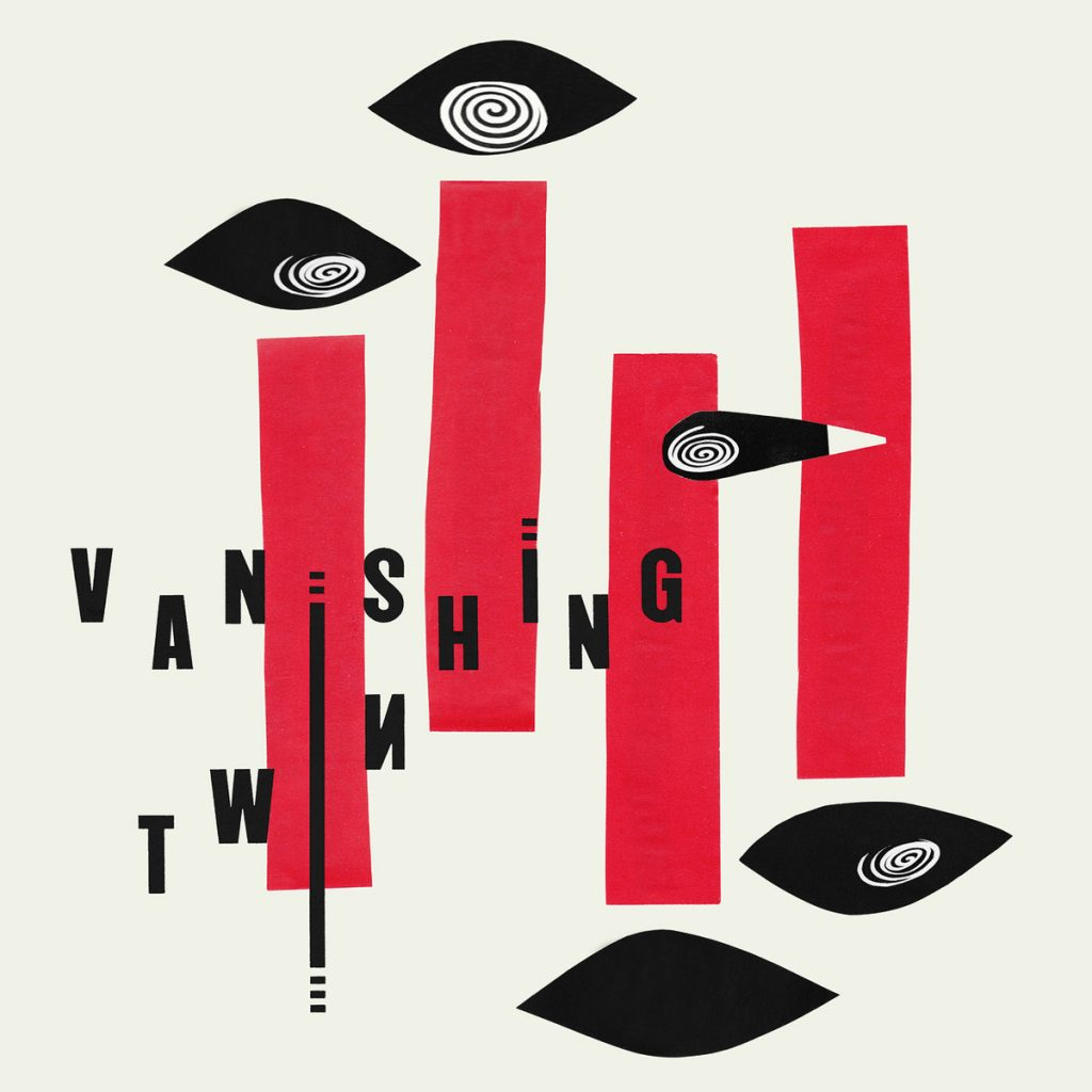 Vanishing Twin Album Cover, featuring red slices and eye/spiral imagery