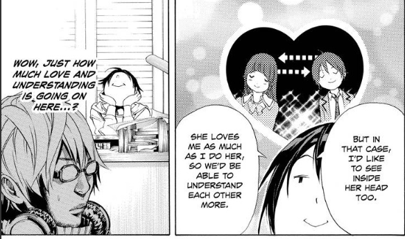 Saiko talking about his love for Miho in bakuman.
